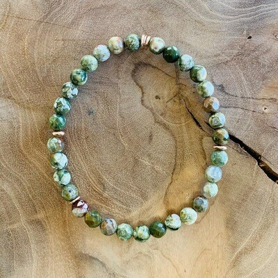 Wristband with Moss Agate and Gold Disks