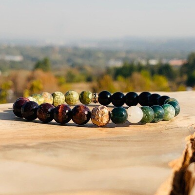 Dry Riverbed Wristband with Rose-gold, Black Diamonds, Tigers Eye and Agate