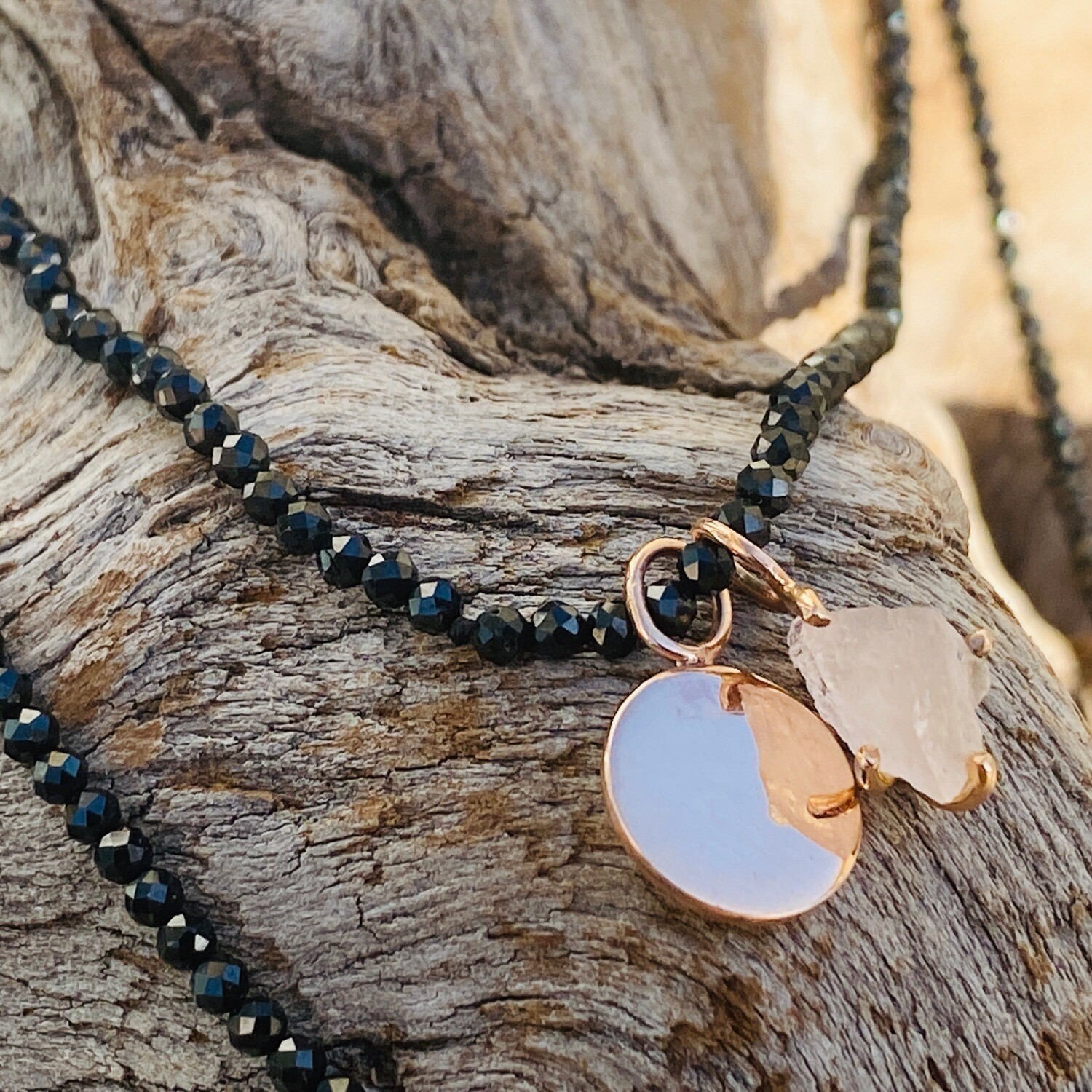 Mikayla Disk Necklace with Rose Quartz