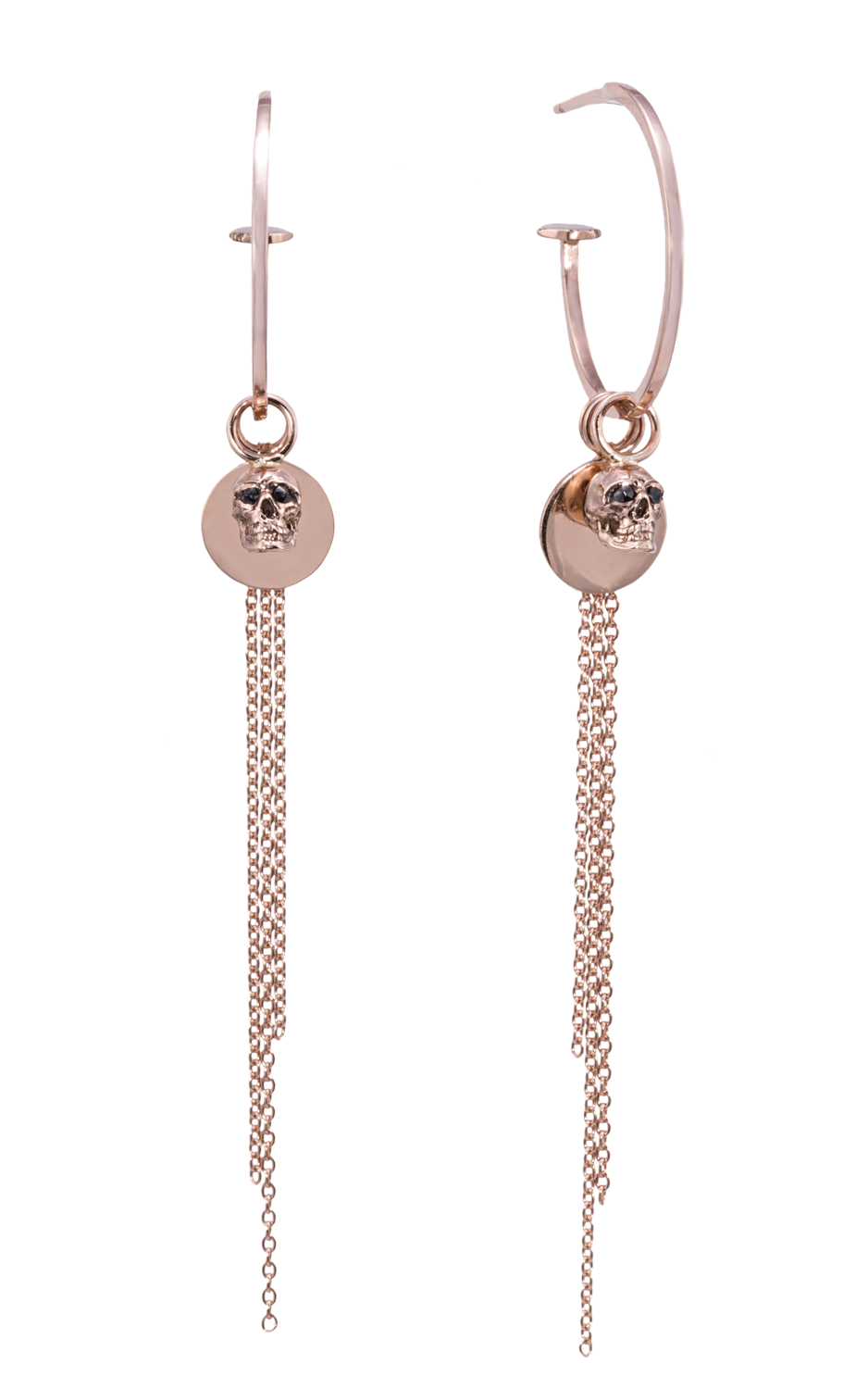 G-Candy Hoops  in Gold with Vivre Skulls, Mini Discs and Tassel Charms