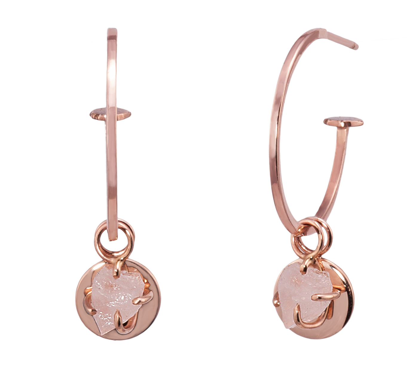 G-Candy Hoops in Gold with Rosequartz and Disks