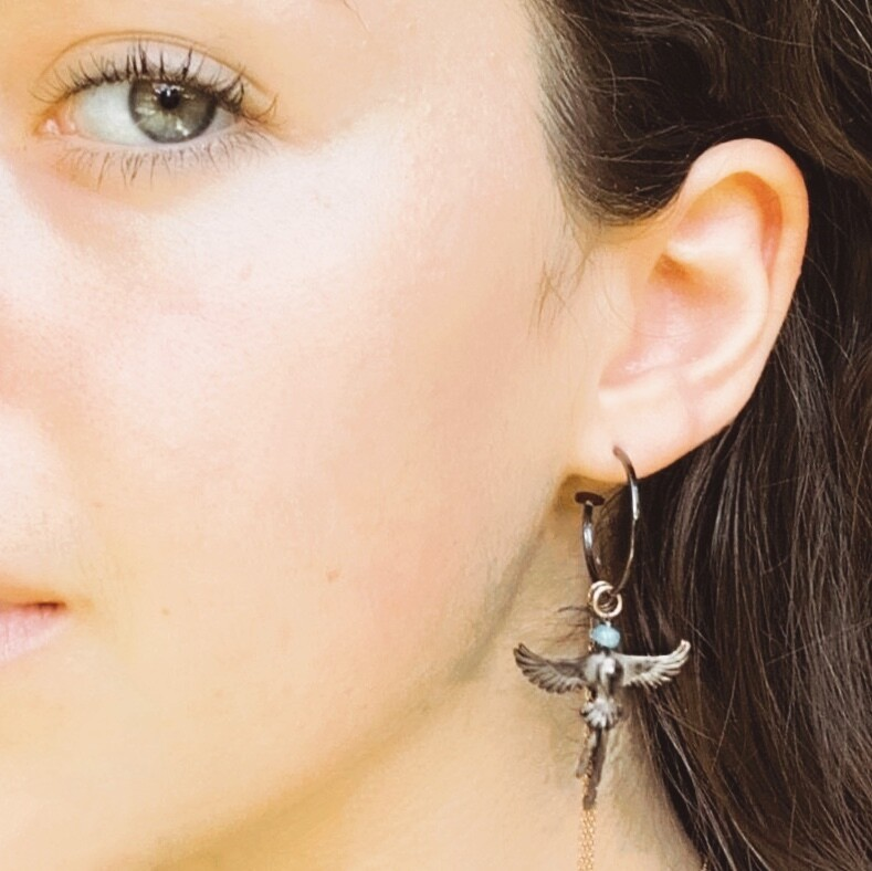 G-Candy Hoop Earrings in Blackened Silver with Sunbird and Turquoise Charms