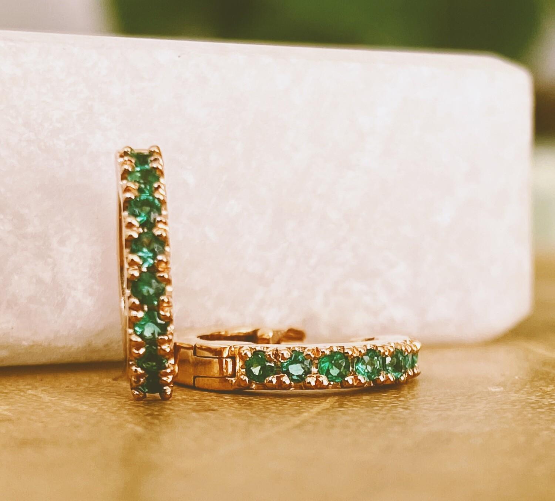 Huggies with Emeralds