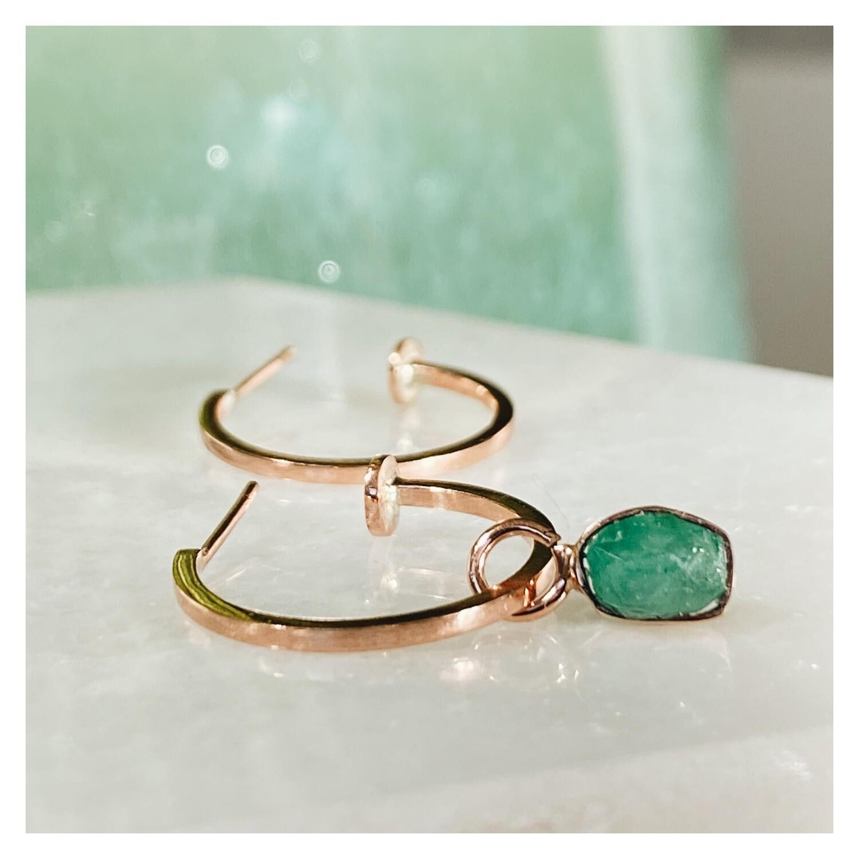 Raw Emerald Earring Charm