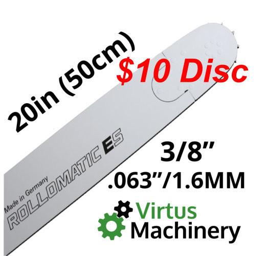 "20""/50cm 3/8"" (.063""/1.6mm)"