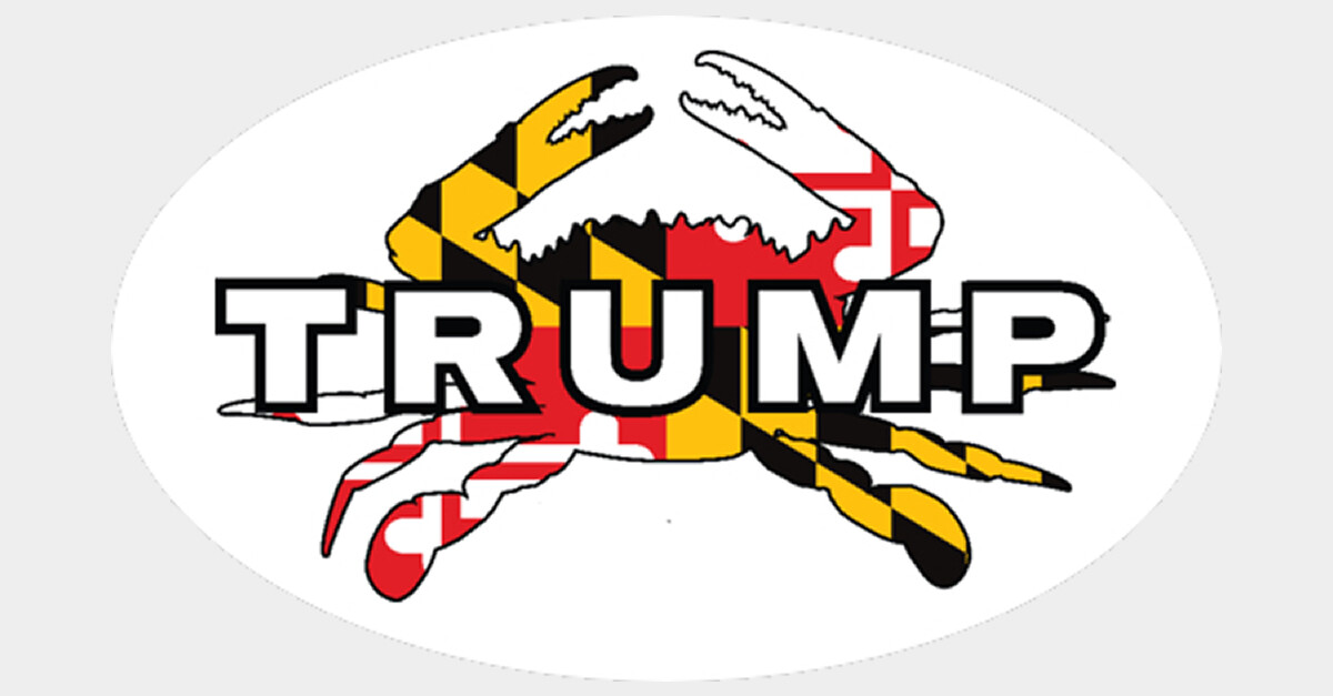 """Maryland for Trump Crab 3"""" x 5"""" Decal"""