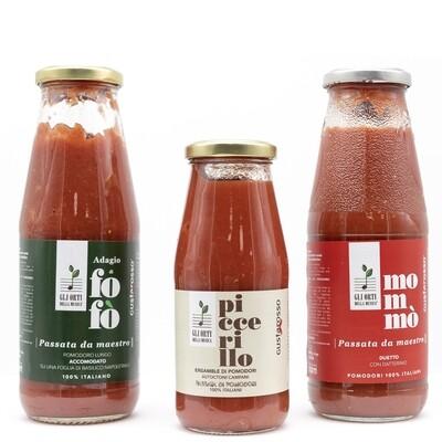 Passata da Maestro 6 bottiglie Piccerillo, 6 bottiglie Mommò, 6 bottiglie Fofò in termopacco - Gli orti della musica / Gustarosso SPEDIZIONE COMPRESA