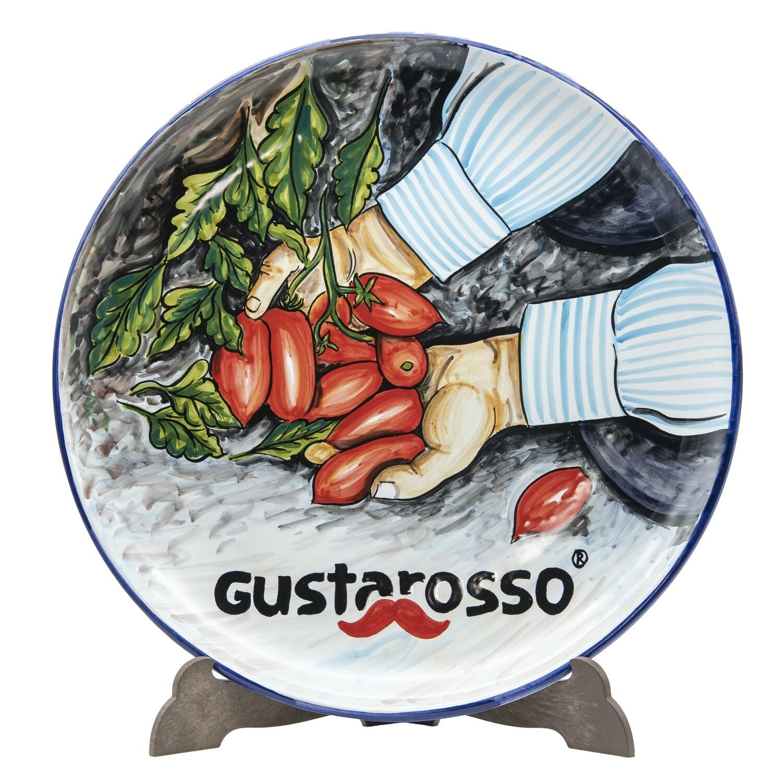 Piatto pizza artigianale in terracotta dipinto a mano - Spedizione gratuita
