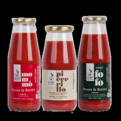 Passata da Maestro 6 bottiglie Piccerillo, 6 bottiglie Mommò, 6 bottiglie Fofò in termopacco - Gli orti della musica / Gustarosso SPEDIZIONE INCLUSA