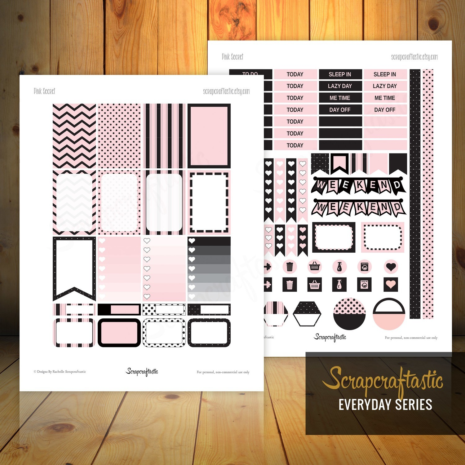 Pink Secret Printable Planner Stickers for the Classic MAMBI Happy Planner