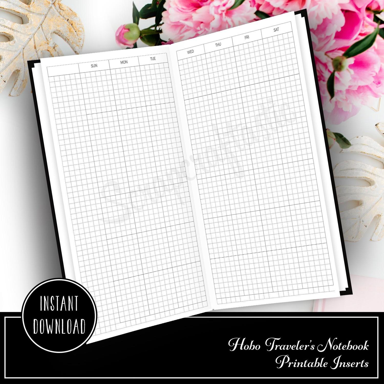HOBO Style Sunday Start Traveler's Notebook Monthly Printable Planner Insert