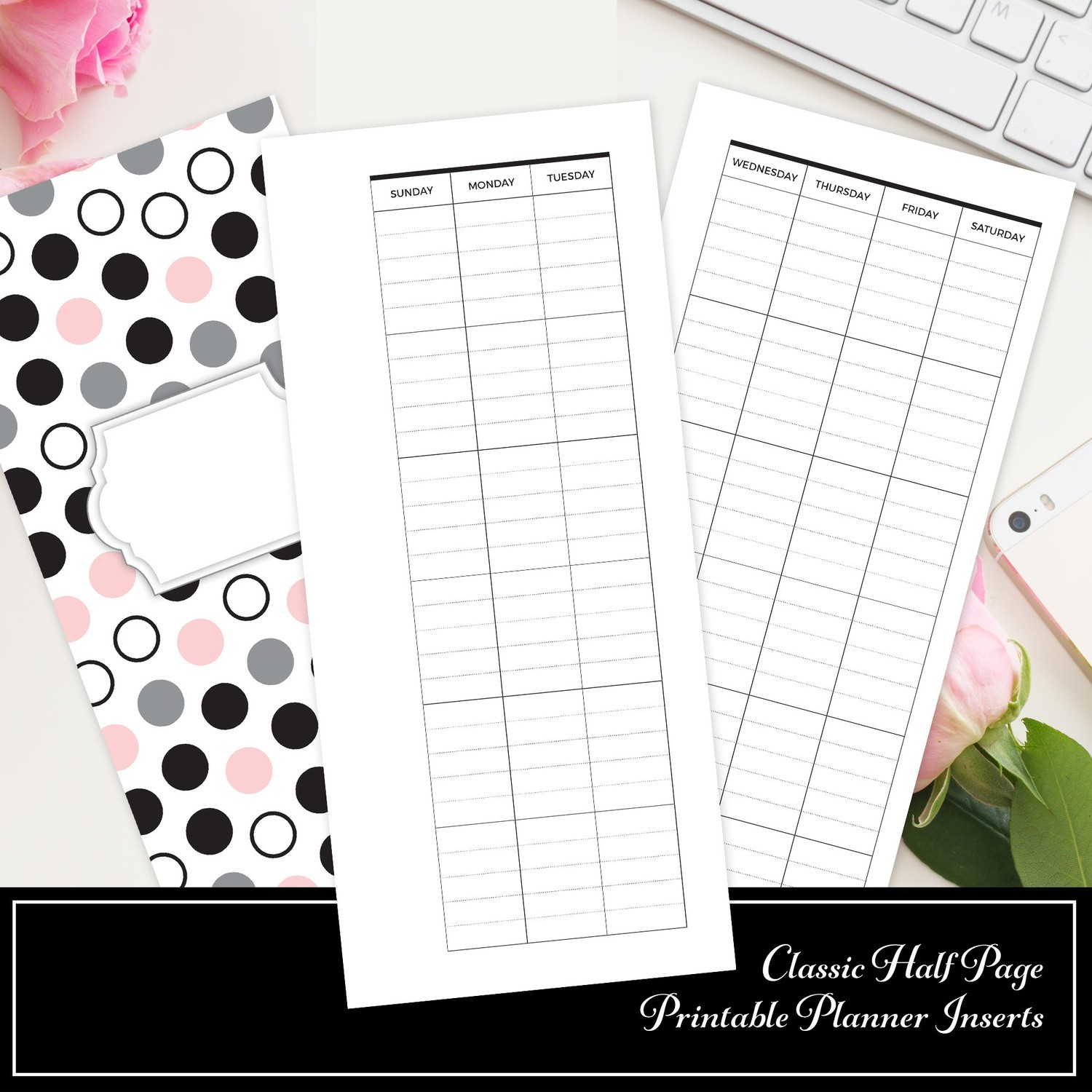 CLASSIC HALF SHEET - Lined Undated Monthly Printable Planner Insert