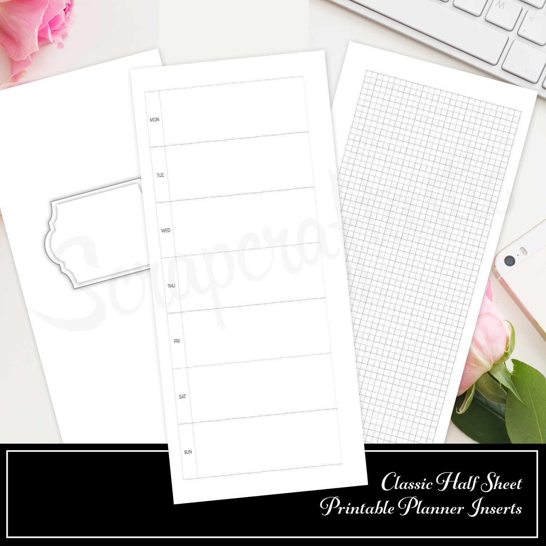 CLASSIC HALF SHEET - Hobo Style Undated Weekly Printable Planner Insert