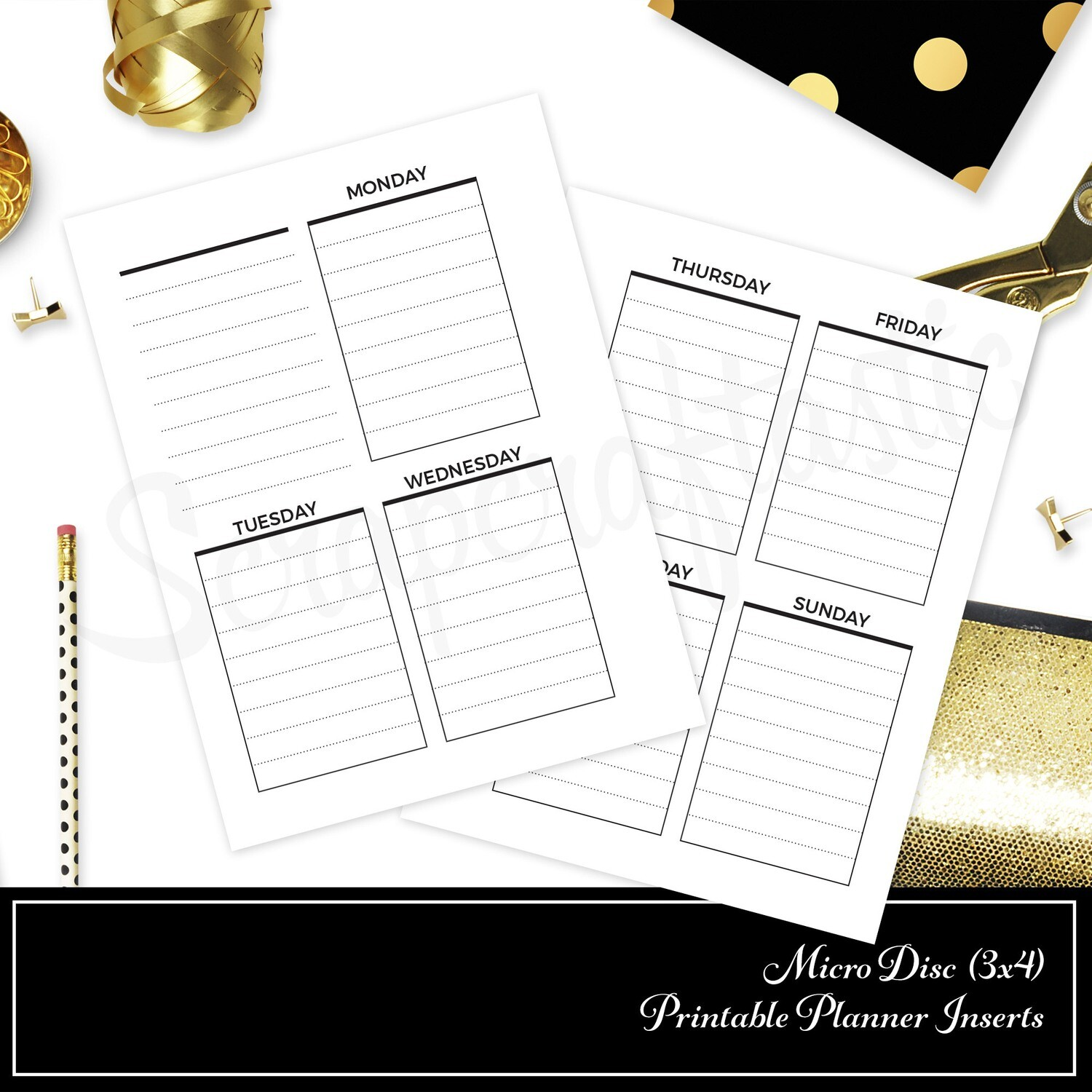 MICRO DISC - Vertical Lined Undated Weekly Printable Planner Insert