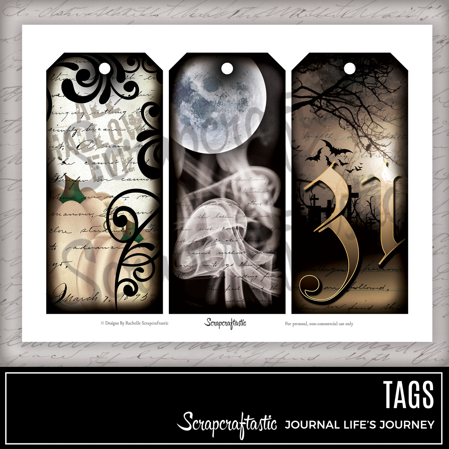 ALL HALLOWS - Halloween Large Printable Tags