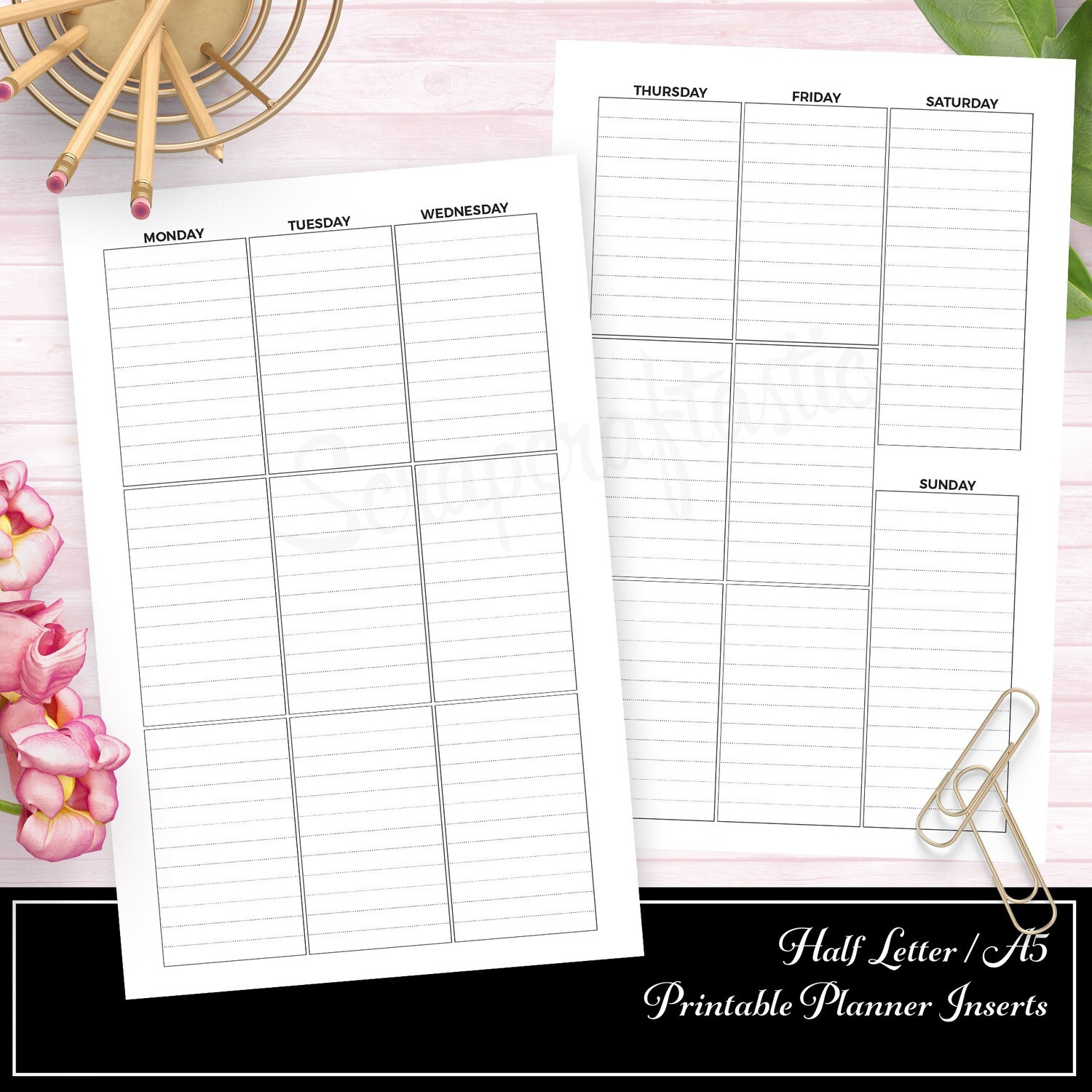 HALF LETTER TN or RINGS- Week On Two Pages (WO2P) Large Full Box Printable Planner Inserts