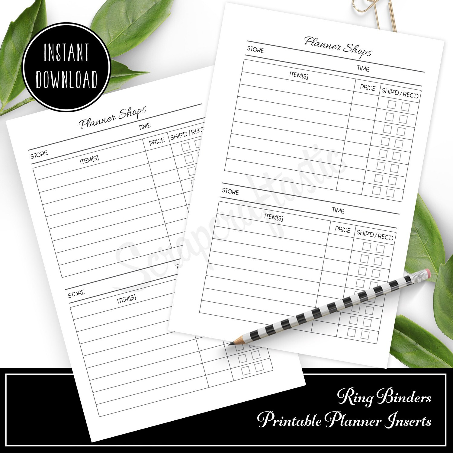 A5 TN or RINGS - Black Friday Shopping Ring Bound or Traveler's Notebook Printable Planner Inserts