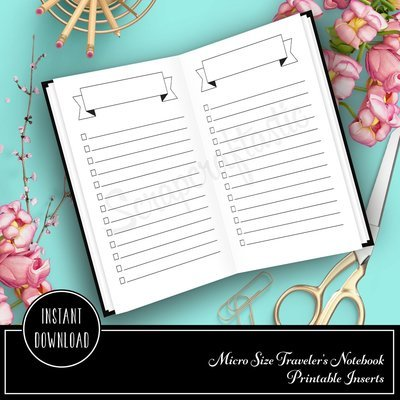 Banner Header and Check List Micro Printable Planner Insert Refill