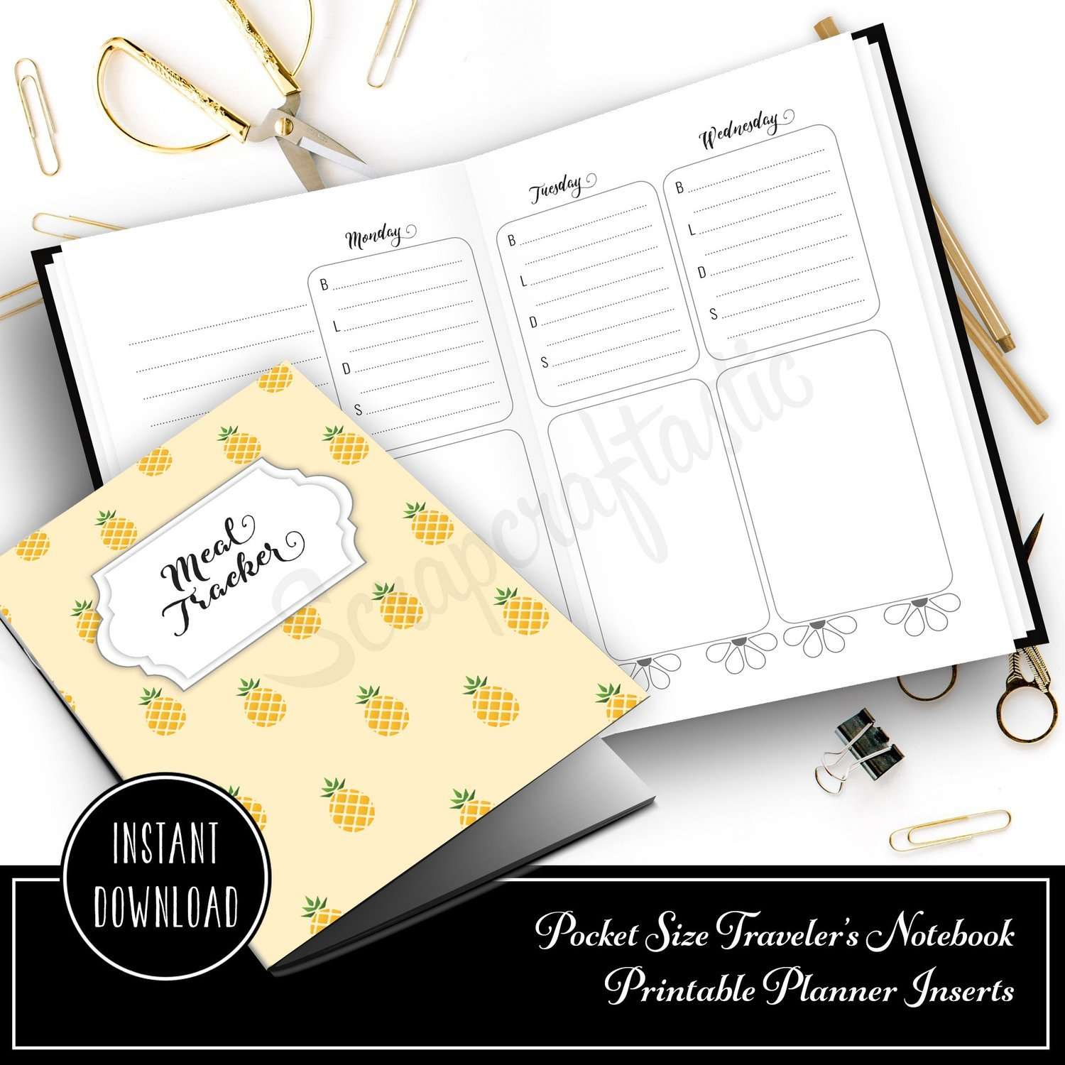 Meal Tracker Notebook:  Pocket Size Printable Traveler's Notebook with WO4P and Grocery Checklist with grid pages