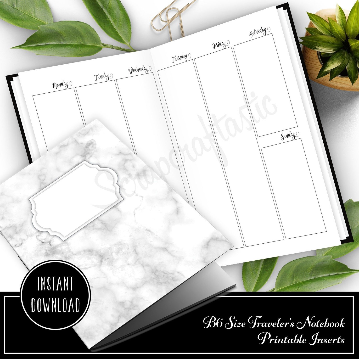 Vertical Week on Two Pages (WO2P) B6 Traveler's Notebook Printable Inserts