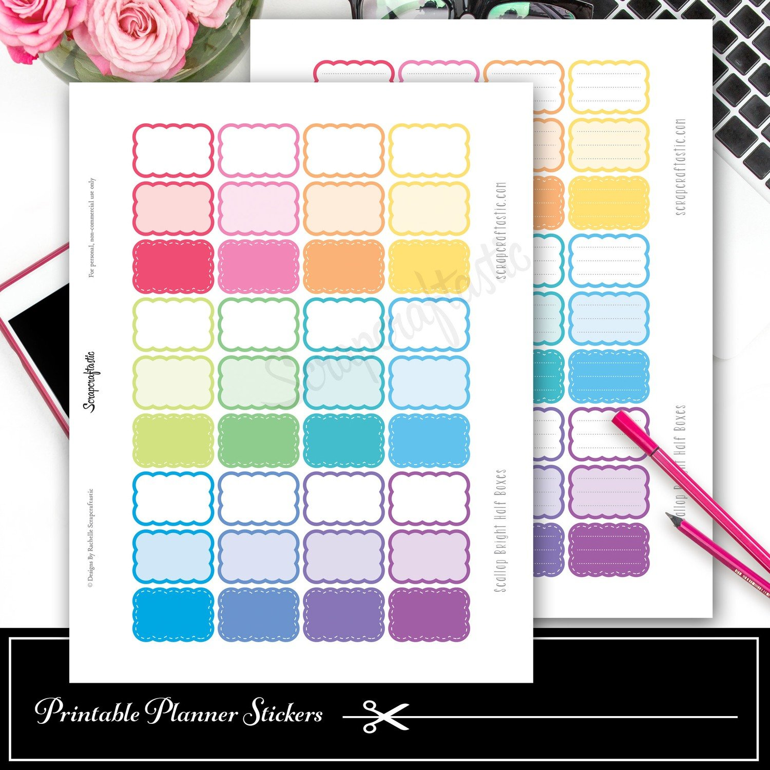 Scallop Brights Variety Half Box Printable Planner Stickers and Silhouette Cut File
