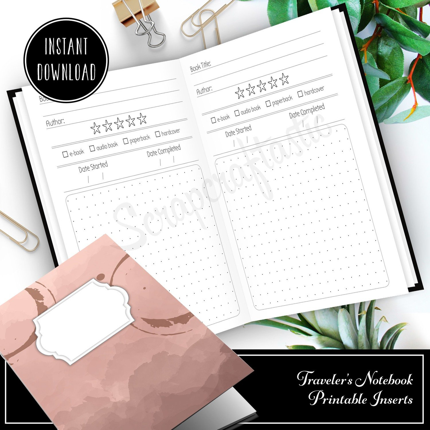 STANDARD TN - Book / Reading Log and Review Standard/Regular Traveler's Notebook Printable Insert