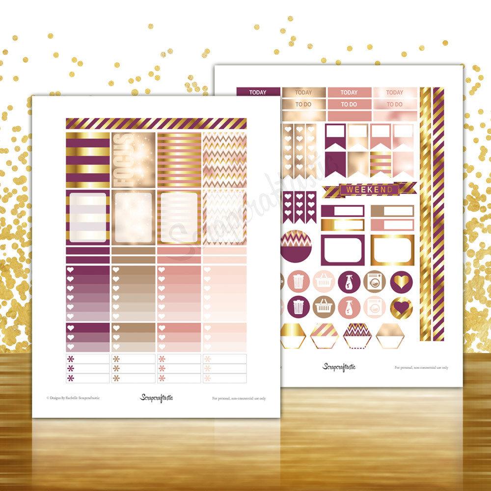 Sophisticates Pattern, Plum, Gold, Pink Everyday Series Printable Planner Stickers for Erin Condren (EC) Life Planner