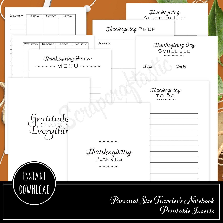 Thanksgiving Planning Printable Personal Size Planner or Organizer Inserts for Filofax, Kikki K