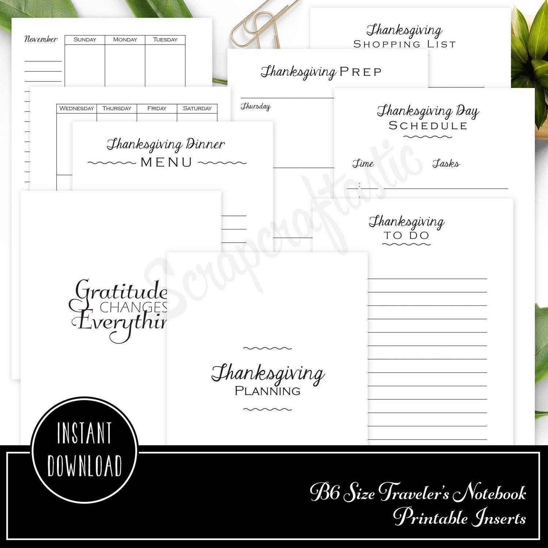 Thanksgiving Planning Printable B6 Traveler's Notebook Inserts