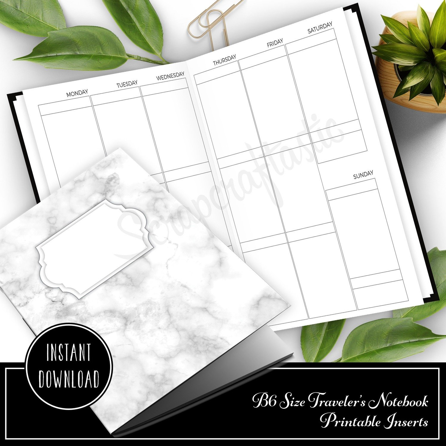 Vertical EC Boxes Week on Two Pages (WO2P) B6 Traveler's Notebook Printable Inserts