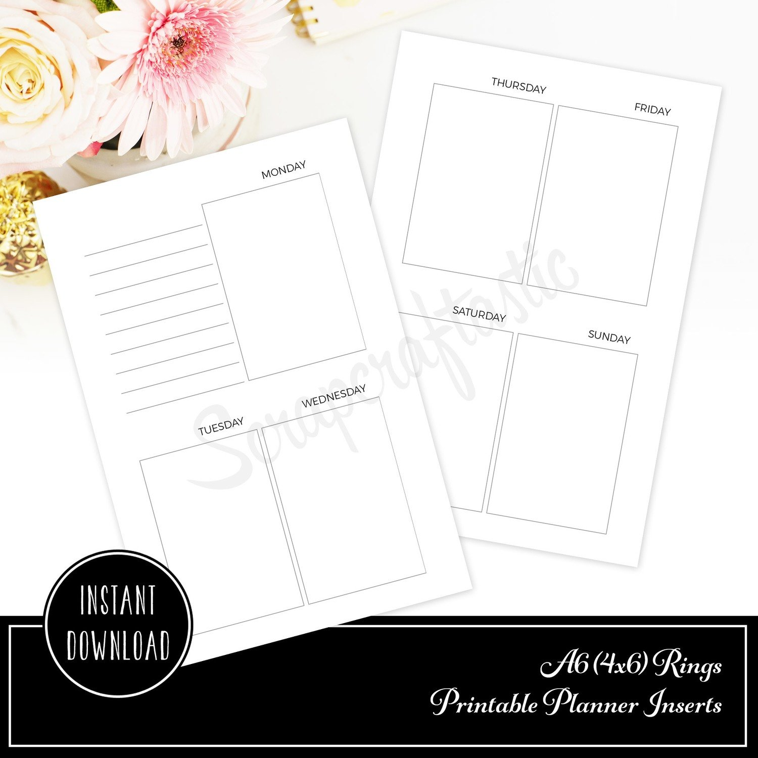 Week On Two Pages (WO2P) Undated A6 Rings / Binder Printable Planner Inserts