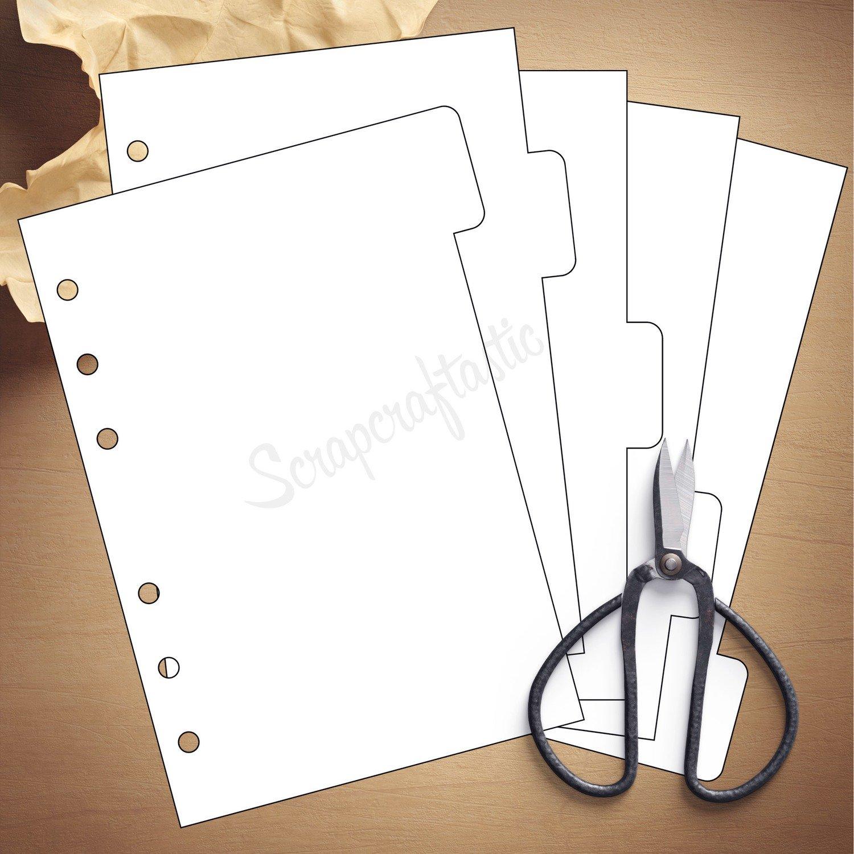 A6 RINGS - 5 Tab Divider Printable Templates and Cut Files