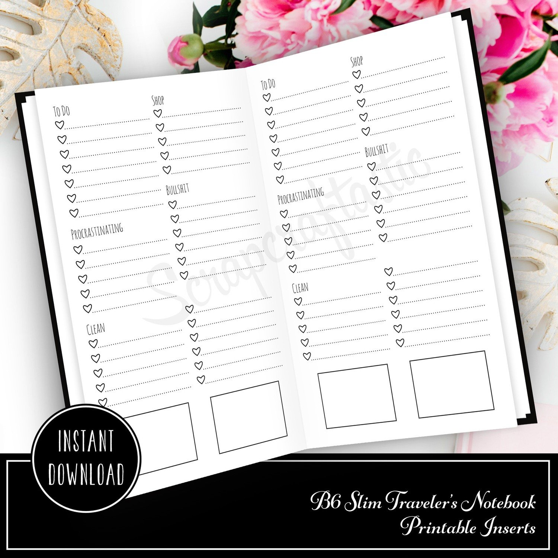 Extreme Listing B6 Slim Travelers Notebook Printable Planner Inserts