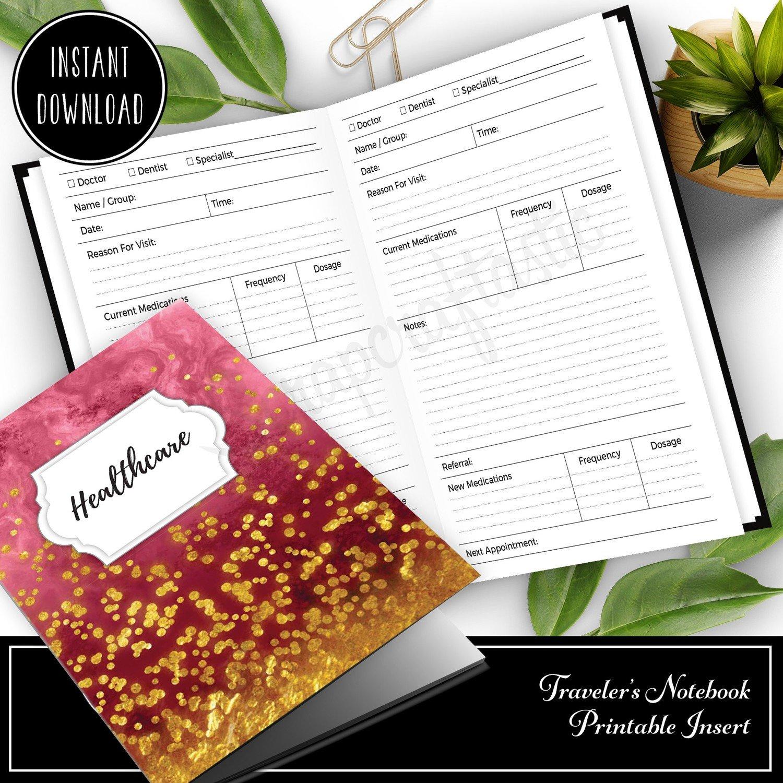 PERSONAL TN - Healthcare Visit Log Traveler's Notebook Printable Insert