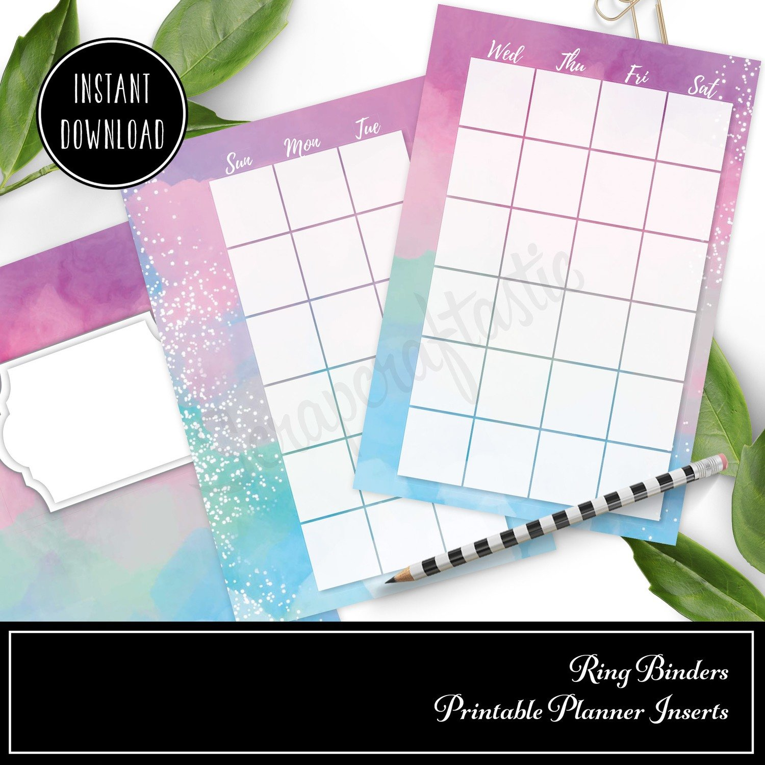 POCKET RINGS - Unicorn Magic Monthly Undated Ring Binder Printable Insert