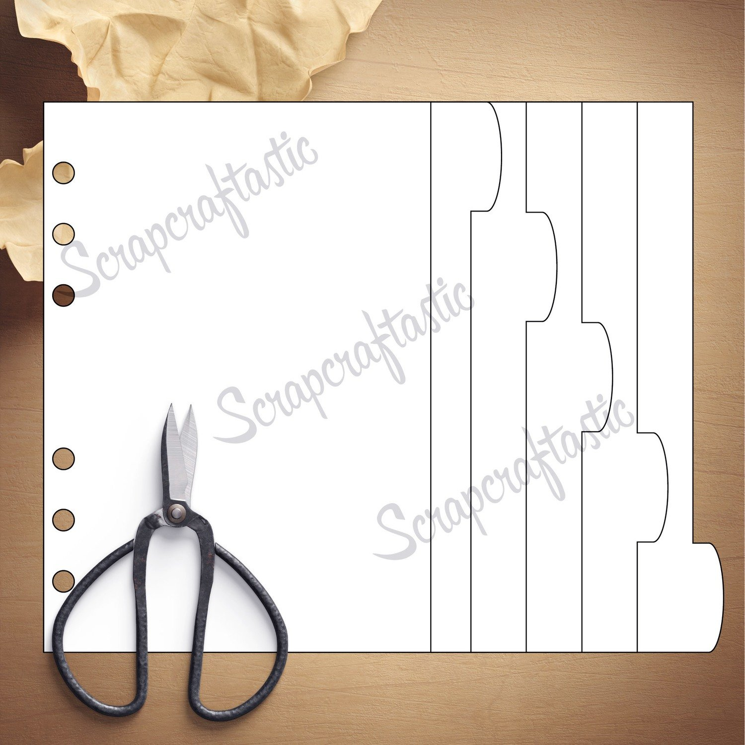 PERSONAL WIDE RINGS - 5 Rounded Tab Divider Printable Templates and Cut Files