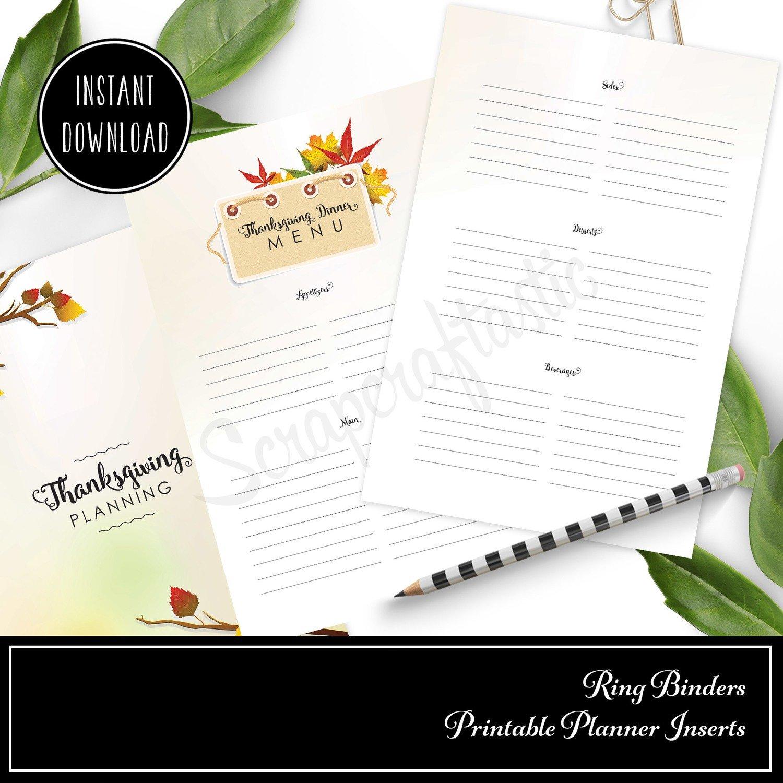 HALF LETTER TN or RINGS - Thanksgiving Planning Printable Insert (Binder or Traveler's Notebook)