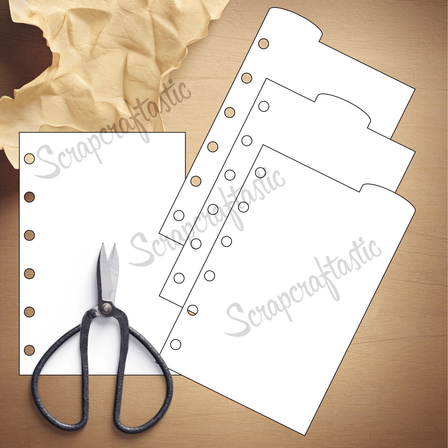 POCKET RINGS - 3 Rounded Top Tab Divider Printable Templates and Cut Files