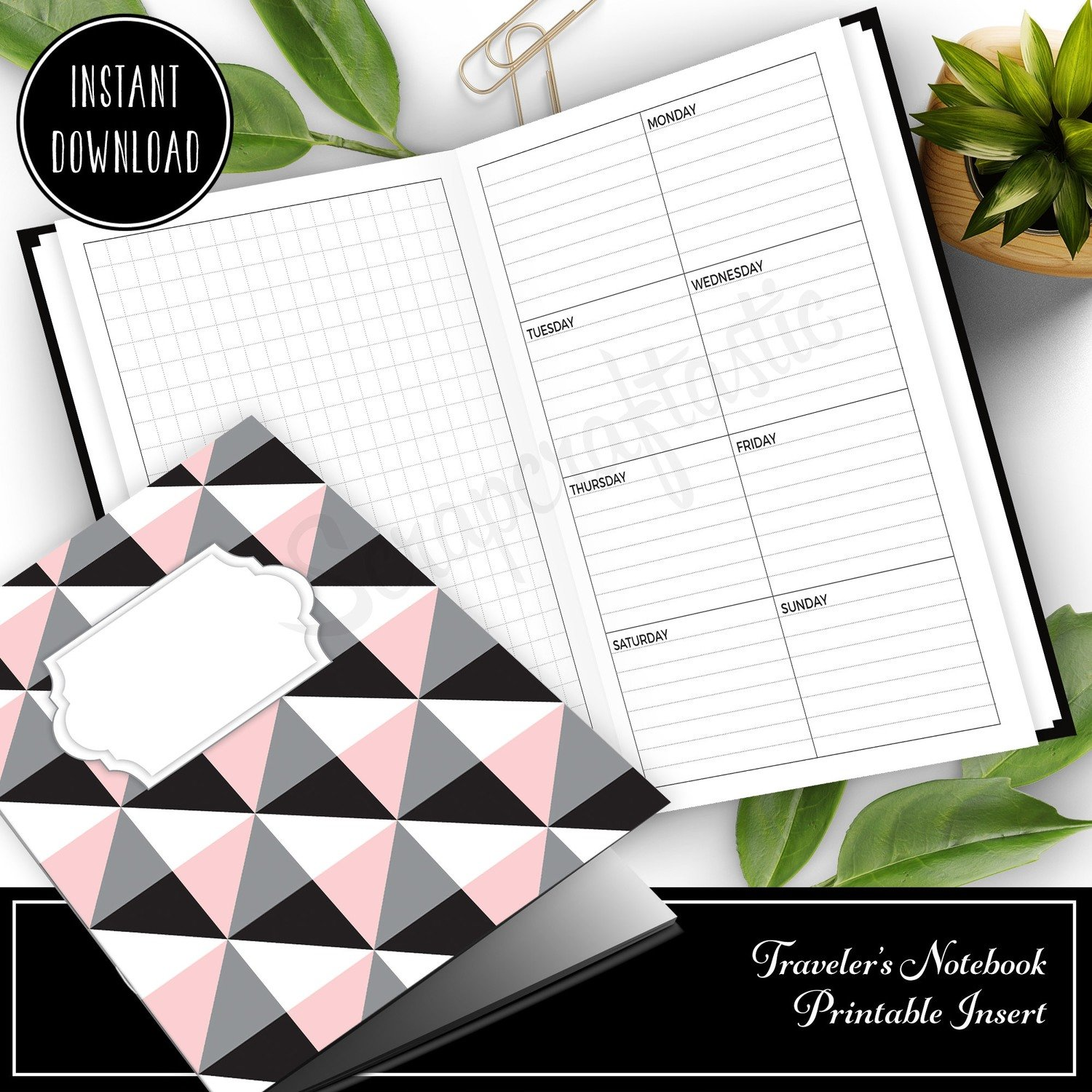 MICRO TN - Grid and Boxed Lined Undated Weekly Traveler's Notebook Printable Planner Insert