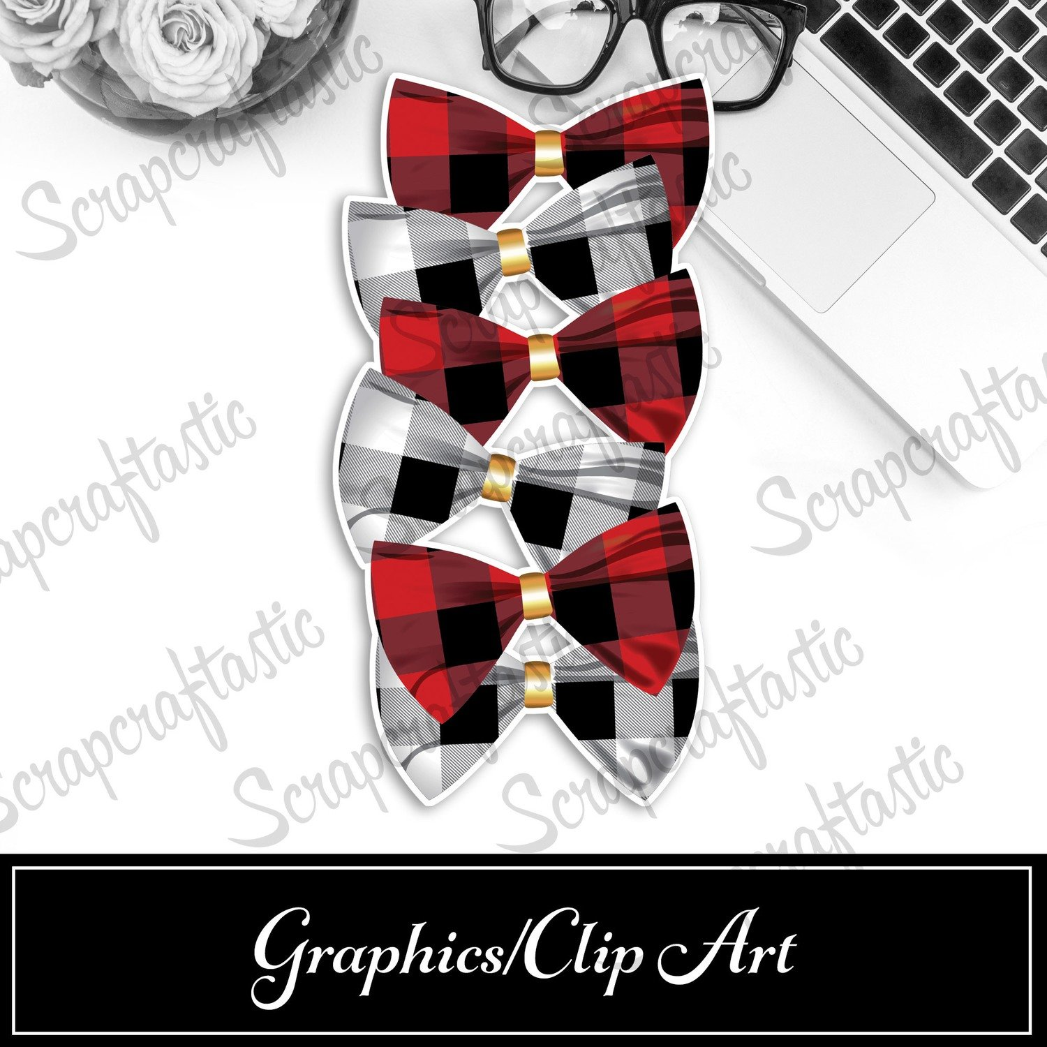 Buffalo Plaid Bow Printable Bookmark Dashboard / Divider Printable and STUDIO Cut File