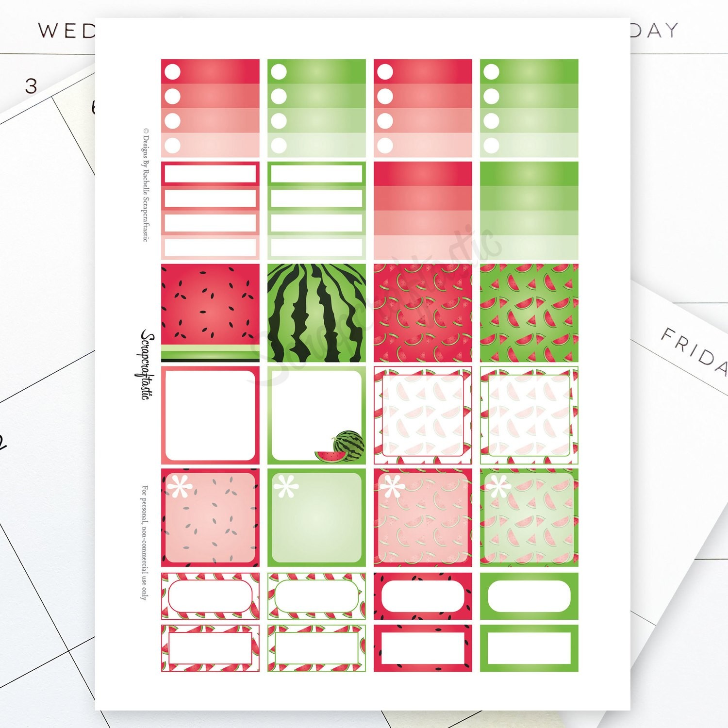 Watermelon Monthly Layout Printable Planner Stickers for the MAMBI Happy Planner