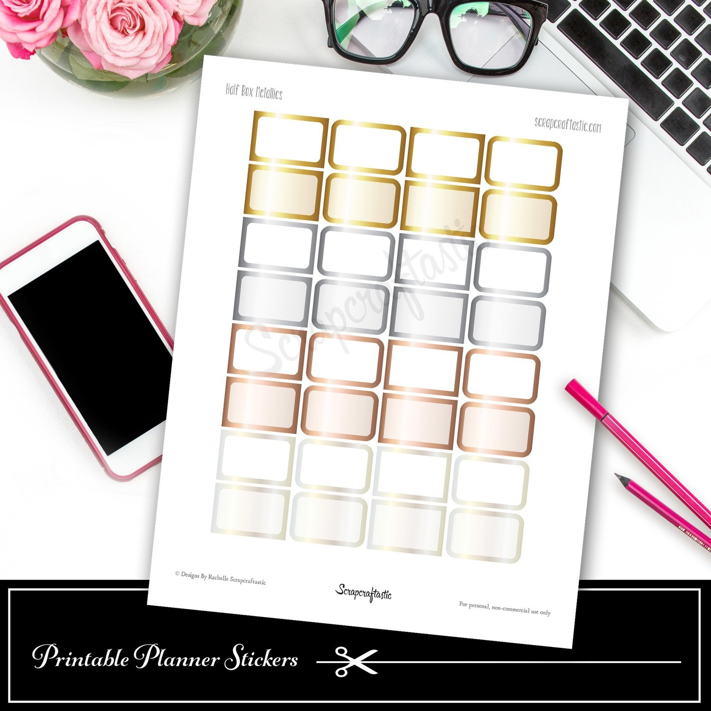Metallics Half Boxes Printable Planner Stickers