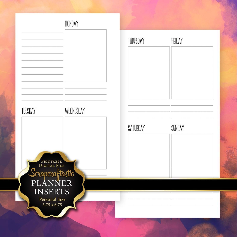 Planner Printable Insert Refill Undated WO2P Personal Size - Filofax Kikki K ColorCrush Erin Condren Size Full Boxes