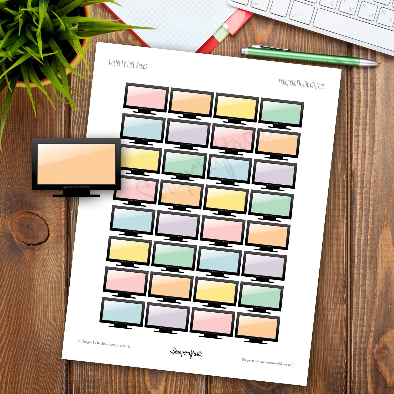 Pastel TV Half Box Printable Planner Stickers for any Planner | Mambi Happy Planner, Erin Condren, Kikki-K, Filofax, ColorCrush, Carpe Diem