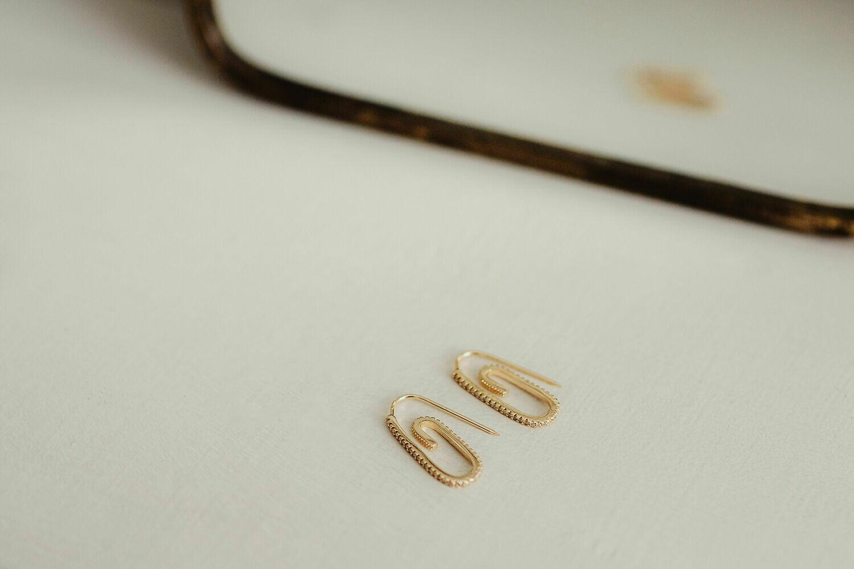 Maya - Pave Paperclip earrings
