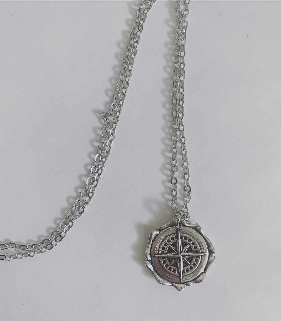 Long compass necklace