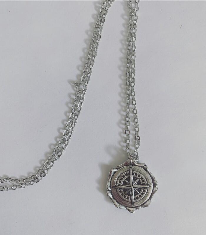 Long compass necklace