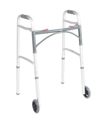 """Deluxe Folding Walker, Two Button with 5"""" Wheels"""