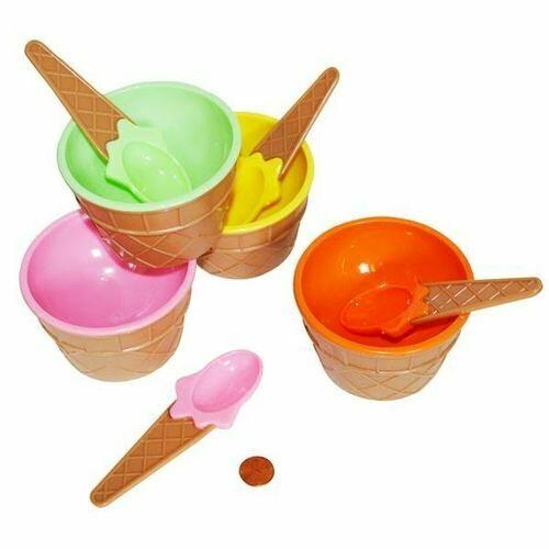 Plastic Bubble Scoop Bowls w/ Spoon
