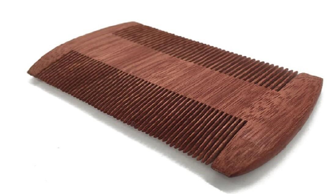 Natural Dark Wood Mens Beard Comb